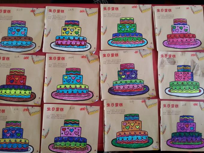 幼儿美术作品生日蛋糕展示墙图片