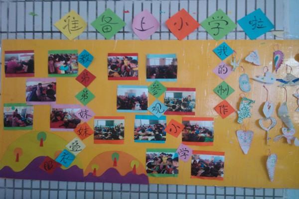 大(4)班在开展准备上小学啦主题时,刚好是大班年级组:幼小衔接参观小学活动,为了让孩子们感受小学的生活。我们带孩子到一年级的班级看了老师们给小学生上课的活动,孩子们还和小学生一起玩拼图游戏,并拿到了小学生们送的礼物。因此,我在主题墙上设计了《参观小学》的小版块,张贴了一些孩子和小学生在一起时的快乐时光的照片;在主题墙上还布置了我们孩子们给中班的弟弟妹妹们做礼物、送礼物的版块,孩子又以绘画的形式做了书签。在人们怎样工作的主题中,幼儿以看邮票、画邮票、剪邮票的方式,表达了自己对人们工作的尊敬之情